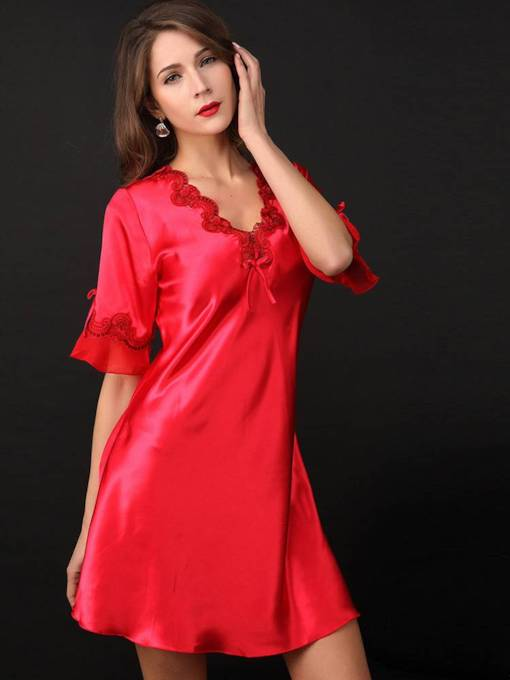Deep-V Bowknot Half Sleeve Above Knee Nightgown