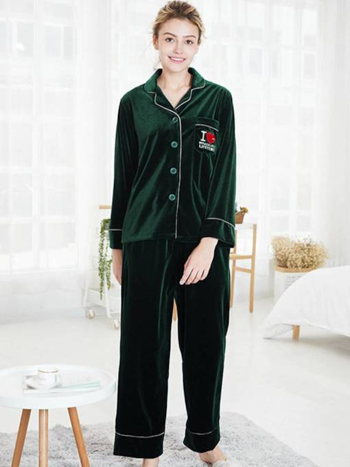 Gold Velvet Print Casual Letter Long Pajamas Set