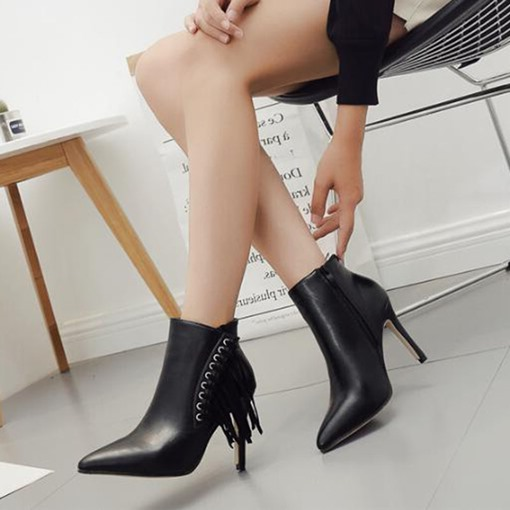 Side Zipper Pointed Toe Fringe Decorated Women's Ankle Boots