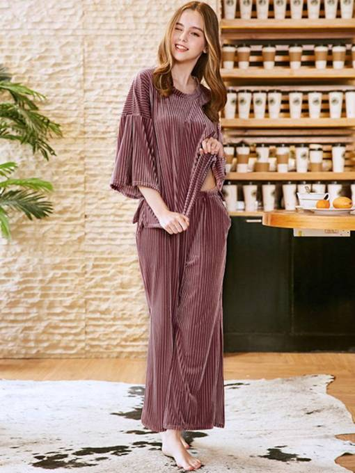 Velvet Plain Casual Loose Long Sleepwear
