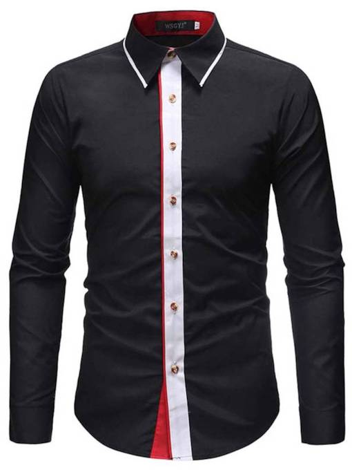 Lapel Slim Casual Style Color Block Patchwork Men's Shirt