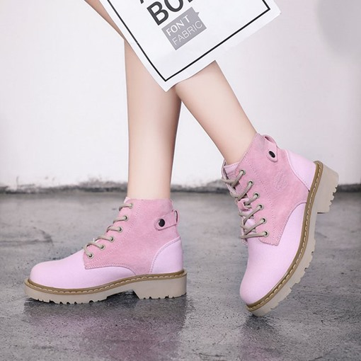 Patchwork Lace-Up Front Block Heel Girlish Women's Ankle Boots