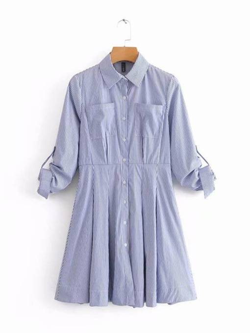 Lapel Pockets Women's Shirt Dress