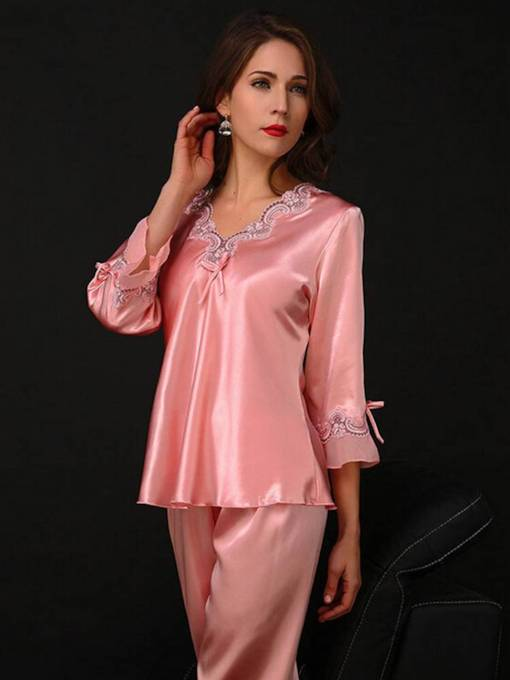 Bowknot V-Neck Long Sleepwear 2 Pieces