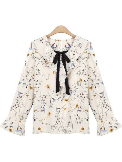 Flare Sleeve Bow Tie Neck Peter Pan Collar Women's Blouse