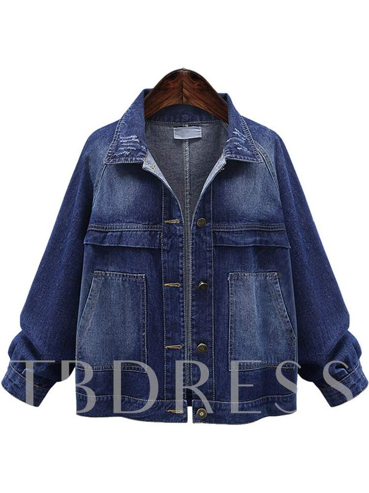 Buy Dual Pocket Button Down Plus Size Women's Denim Jacket, Spring,Fall, 13389152 for $23.90 in TBDress store