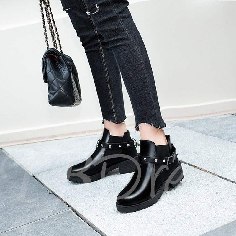 Buy Round Toe Rivet Buckle Elastic Chelsea Ankle Boots for Women, Spring,Fall,Winter, 13388800 for $29.99 in TBDress store