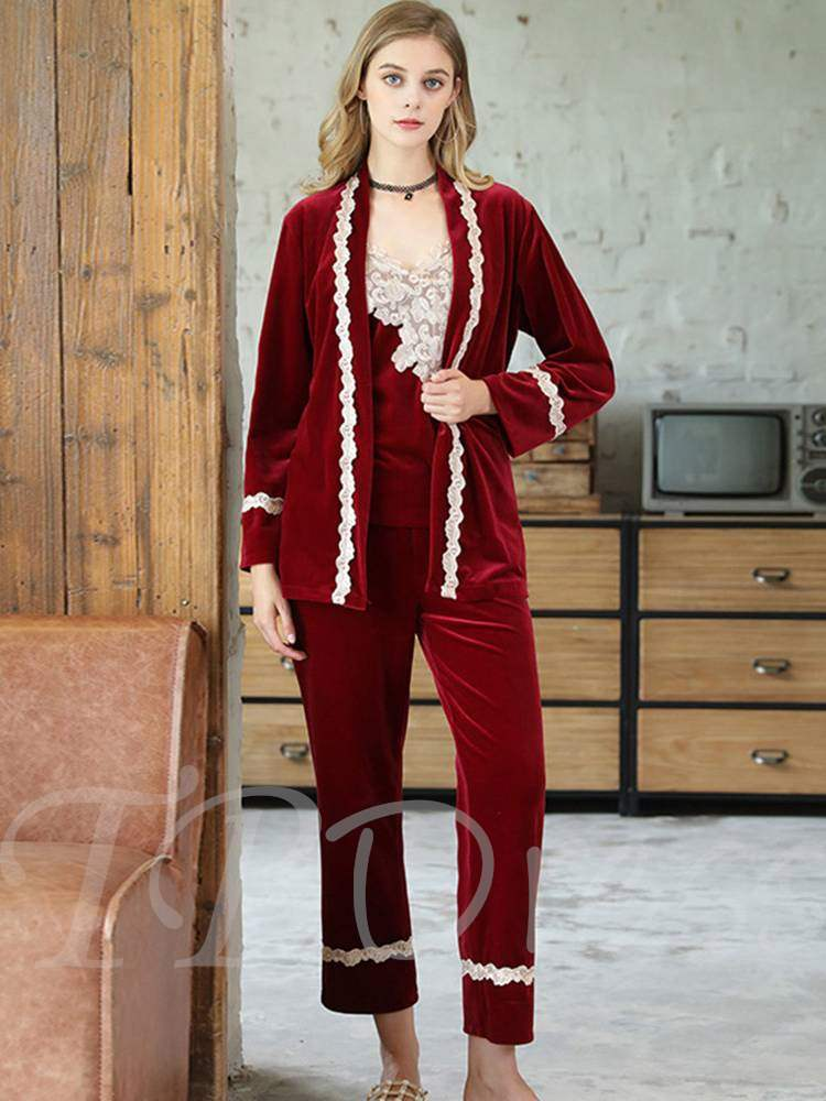 Women's Embroidery Plain Sleepwear Suit 3 Pieces
