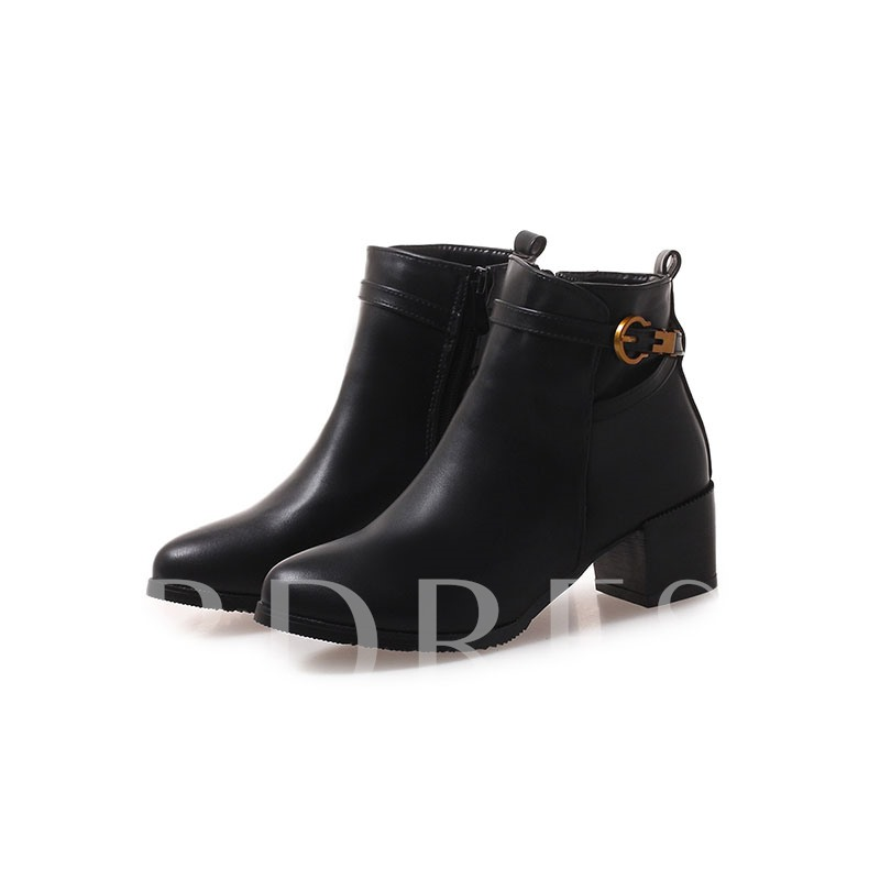 Buy Round Toe Side Zipper Chunky Heel Buckle Classical Women's Ankle Boots, Spring,Fall,Winter, 13388809 for $39.48 in TBDress store