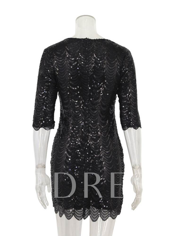 Round Neck Sequins Decorated Women's Bodycon Dress