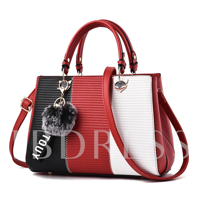 Fashion Color Block Patchwork Tote Bag