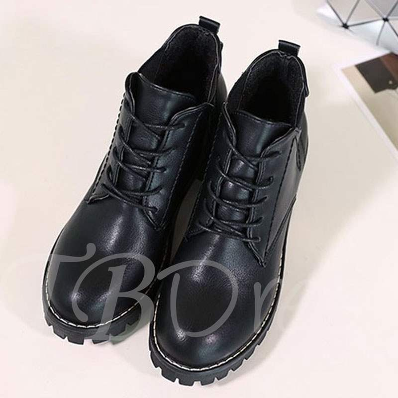 Buy Round Toe Chunky Heel Cross Strap Buckle Ankle Martin Boots, Spring,Fall,Winter, 13388816 for $30.66 in TBDress store