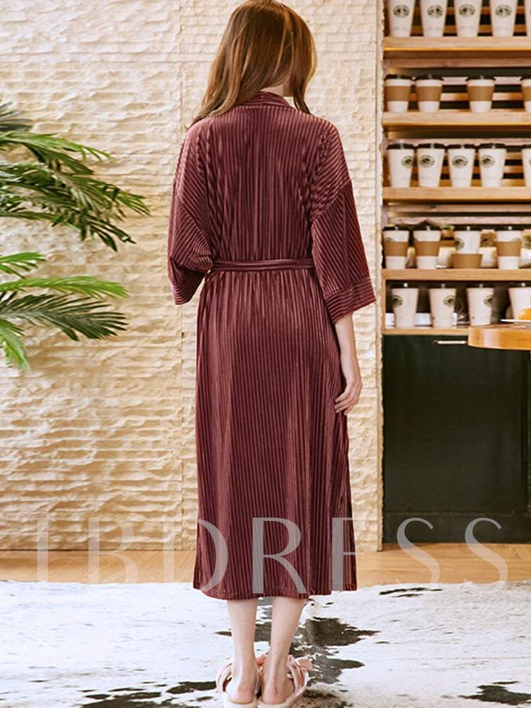 Thin Loose Velvet Lace-Up Robe for Women