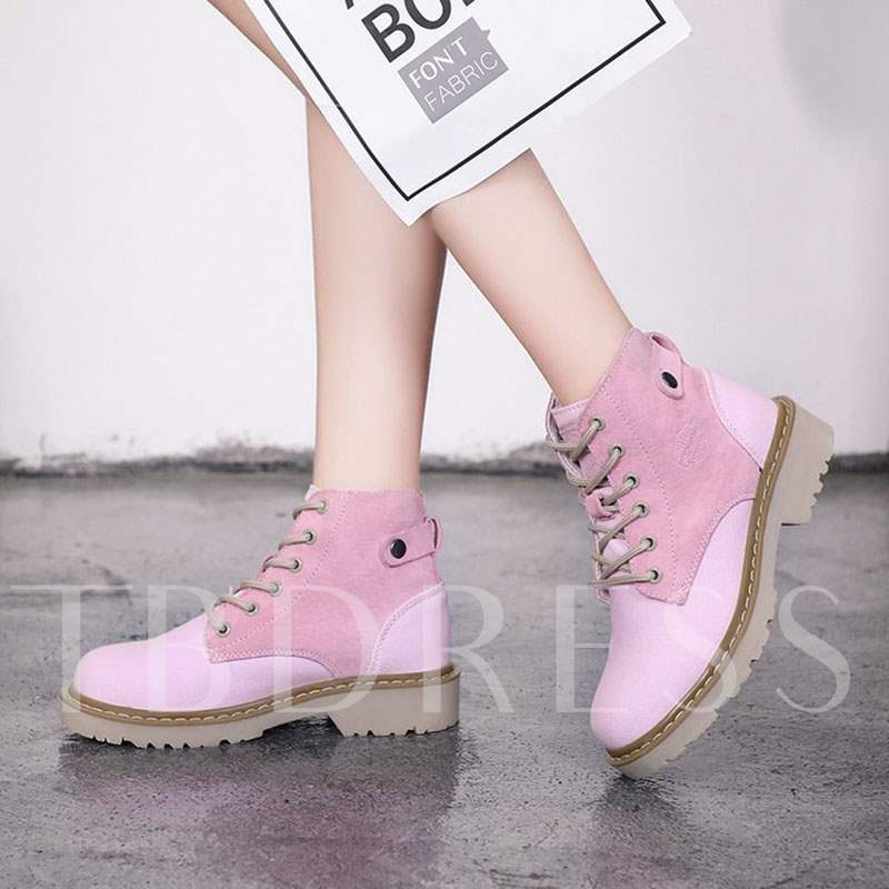 Patchwork Lace-Up Front Block Heel Girlish Women s Ankle Boots ... 64b4e0ea6