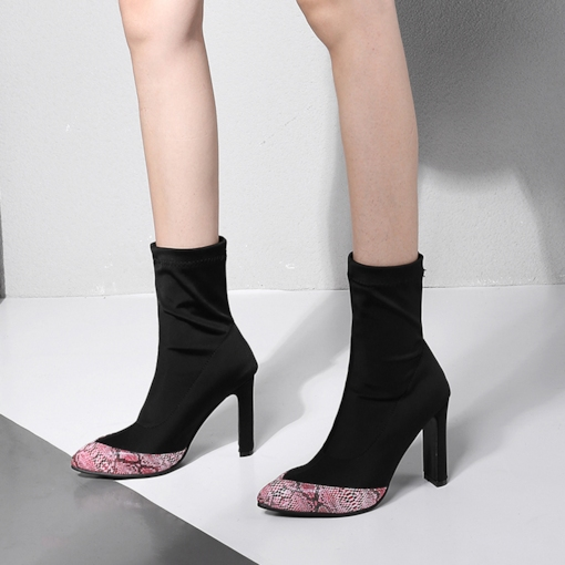 Spandex Patchwork Pointed Toe Chunky Heel Women's Ankle Booties