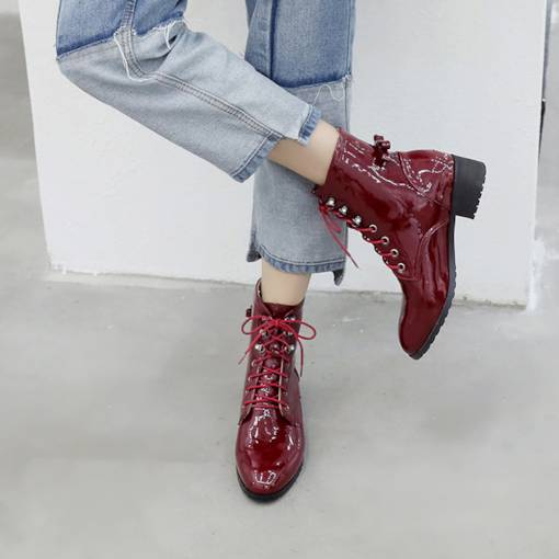 Round Toe Bowknot Lace-Up Front PU Women's Ankle Boots