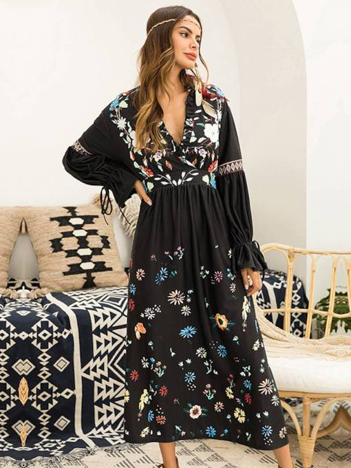 Long Sleeve Floral Prints High Waist Dress