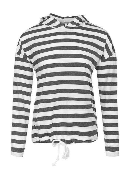 Lace Up Stripe Pocket Pullover Women's Hoodie
