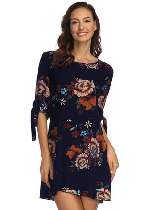 Half Sleeve Floral Printing Women's Day Dress