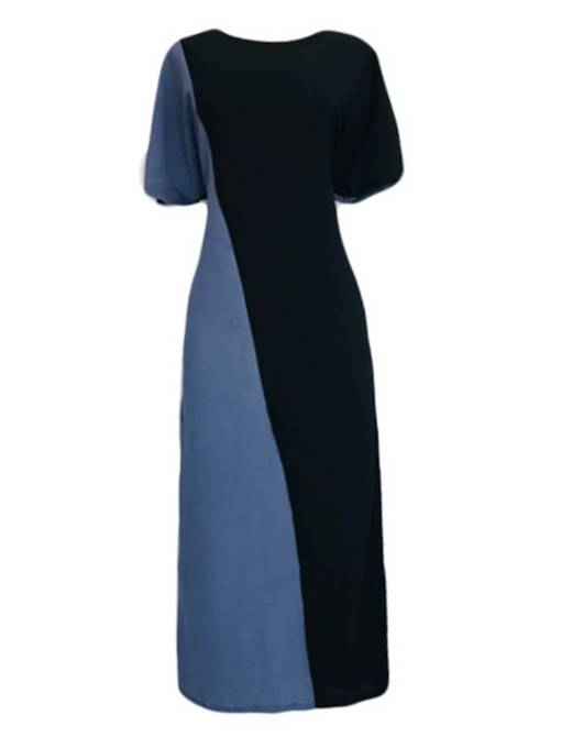 Color Block Short Sleeve Women's Maxi Dress
