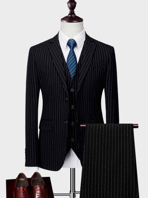 Formal Style Pockets Single-Breasted Plaid Men's Dress Suit