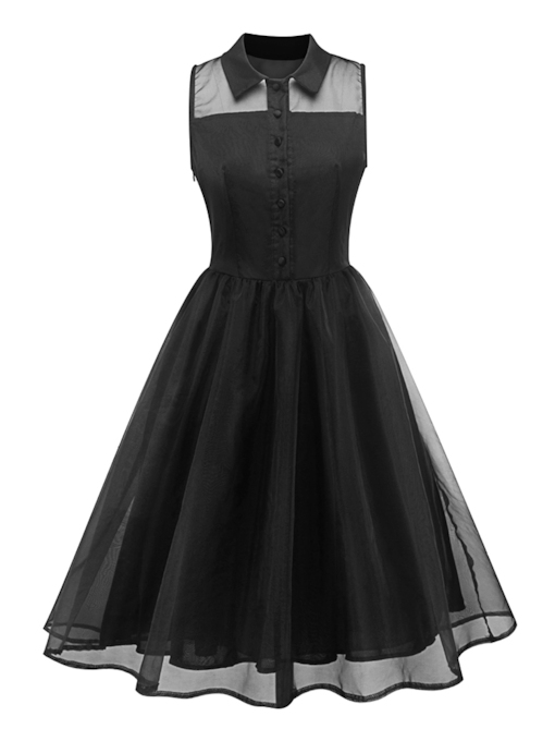 Peter Pan Collar Sleeveless Black Women's Day Dress