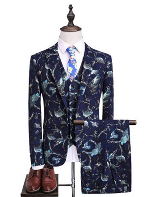 One Button Pockets Houndstooth Print Men's Dress Suit