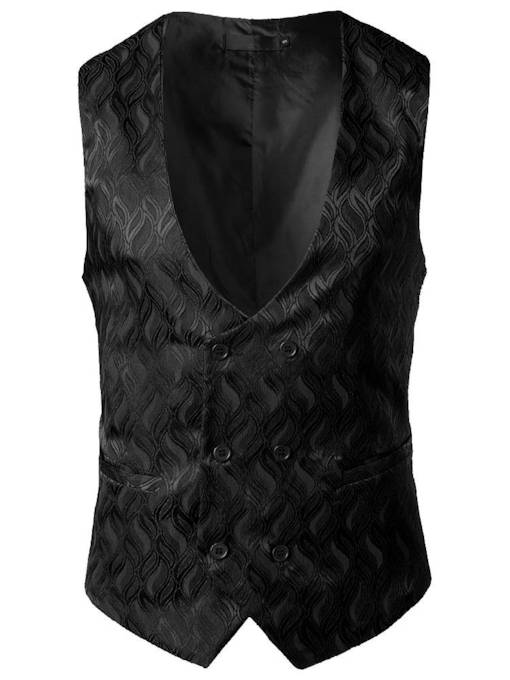 V-Neck Plain Single-Breasted Men's Vest