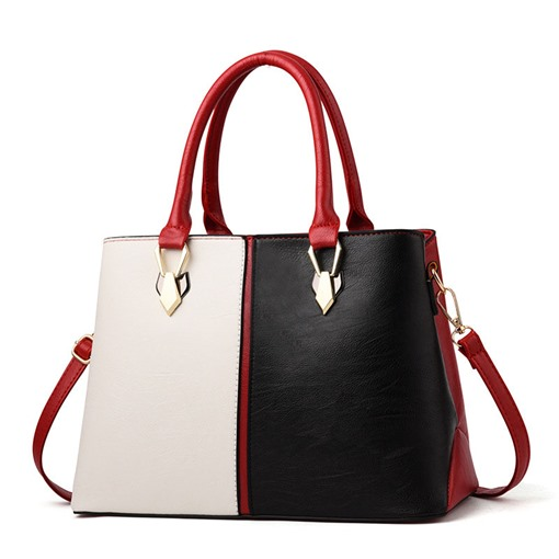 Modern Style Color Block Zipper Tote Bag