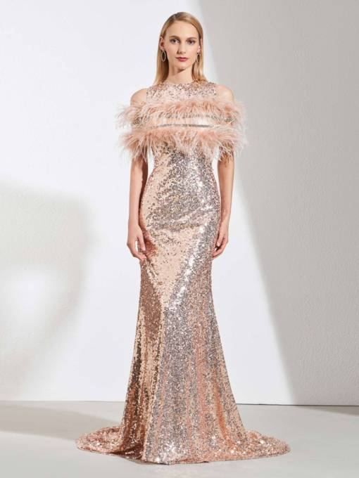 Reflective Dress Trumpet Sequins Scoop Evening Dress 2019