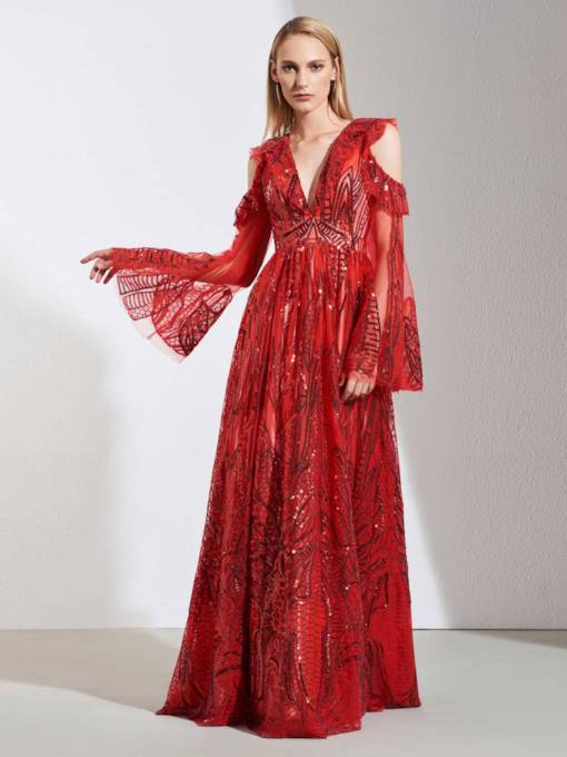 A-Line Deep V-Neck Lace Evening Dress 2019