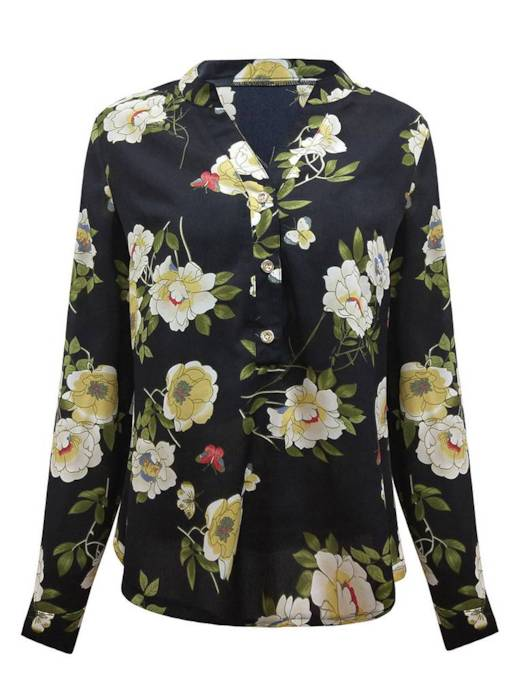 Floral Single-Breasted Long Sleeve Travel Look Women's Shirt