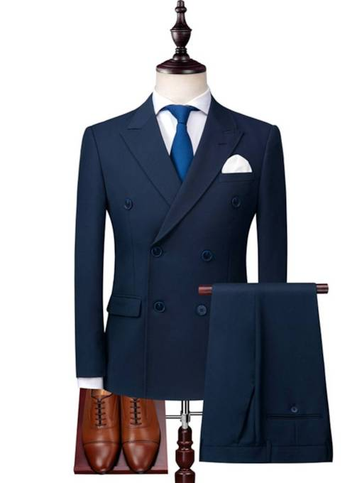 Double-Breasted Pockets Plain Men's Dress Suit