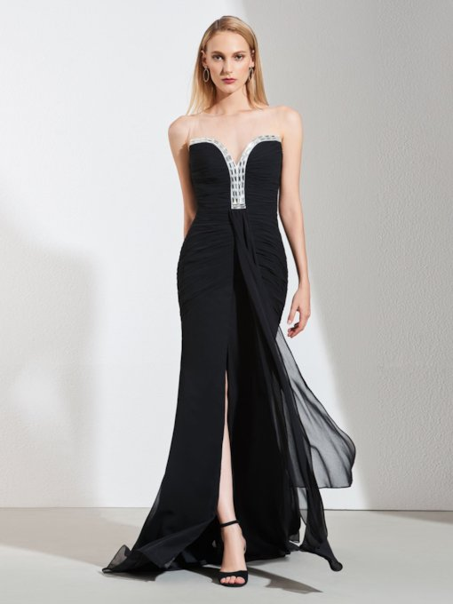 Illusion Neck Beading Button Black Evening Dress 2020