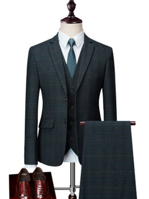 Formal Style Pockets Plaid Men's Dress Suit