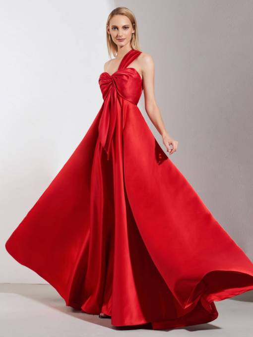 A-Line Pleats One-Shoulder Evening Dress 2019