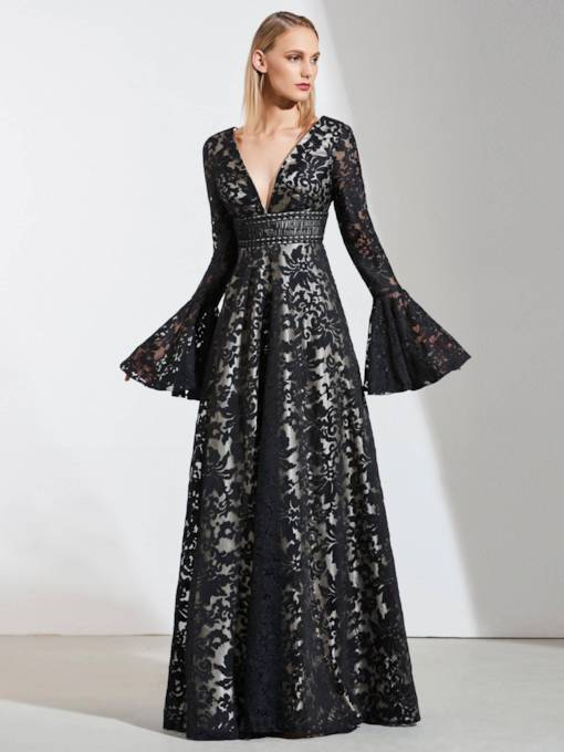 A-Line Lace Empire V-Neck Evening Dress
