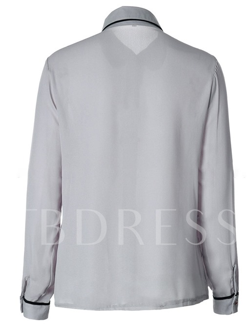 Plain Contrast Color Single-Breasted Women's Shirt