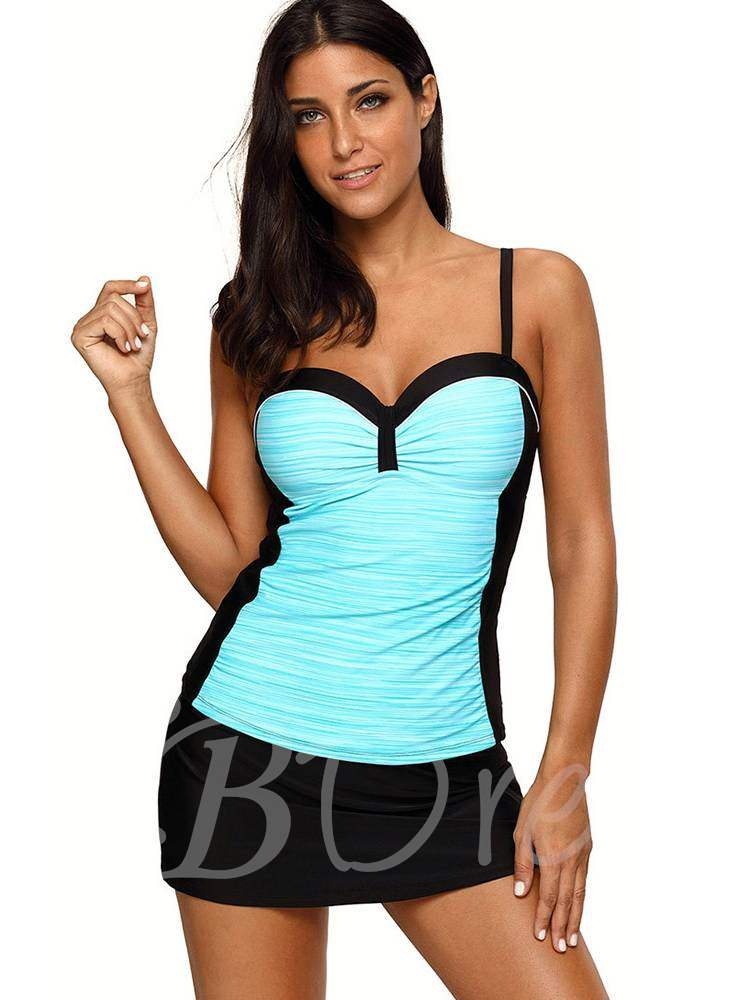 Color Block Pleated Sexy Tankini