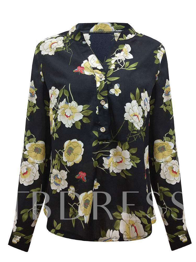 Buy Floral Single-Breasted Long Sleeve Travel Look Women's Shirt, Spring,Fall, 13390279 for $13.24 in TBDress store