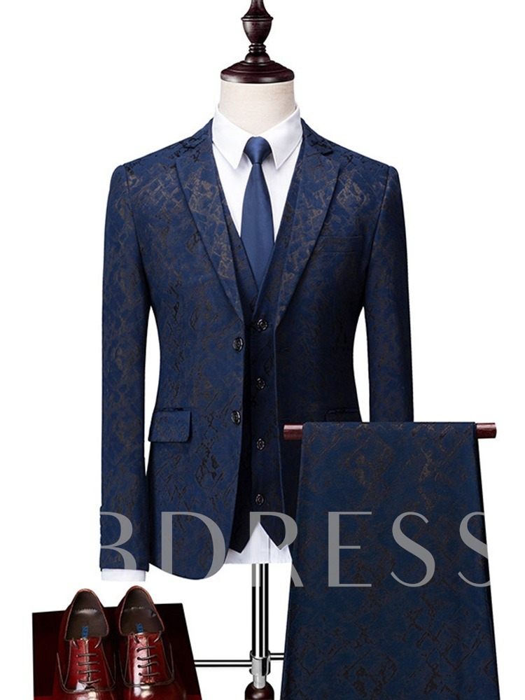 Formal Pockets Geometric Print Men's Dress Suit