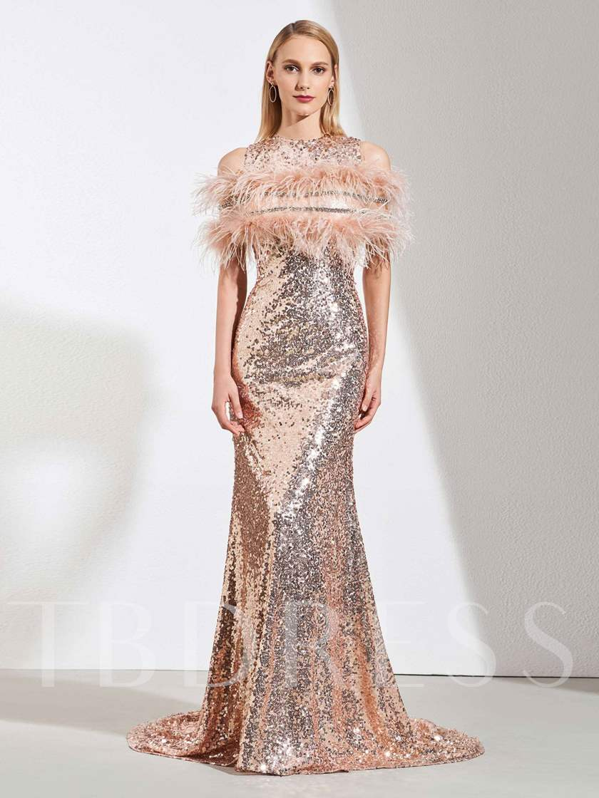 Trumpet Sequins Scoop Court Train Evening Dress