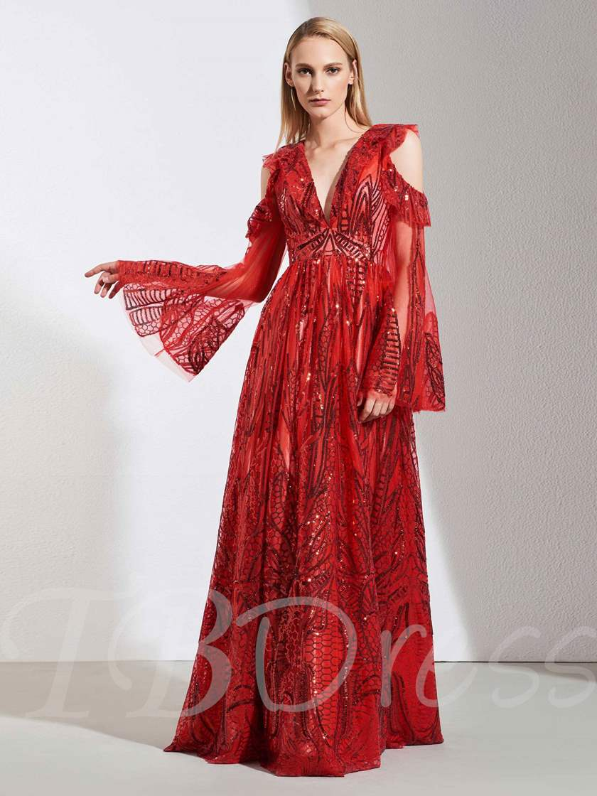 Open Shoulder Deep V-Neck Sequins Evening Dress 2019