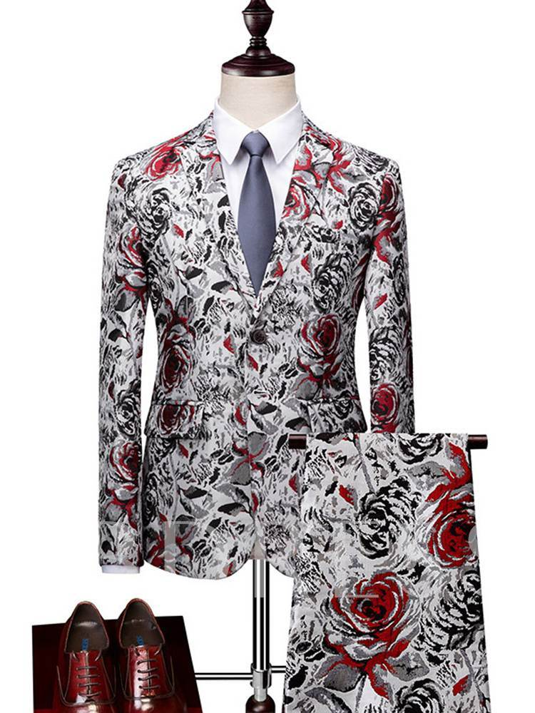 Floral Print Single-Breasted Men's Dress Suit