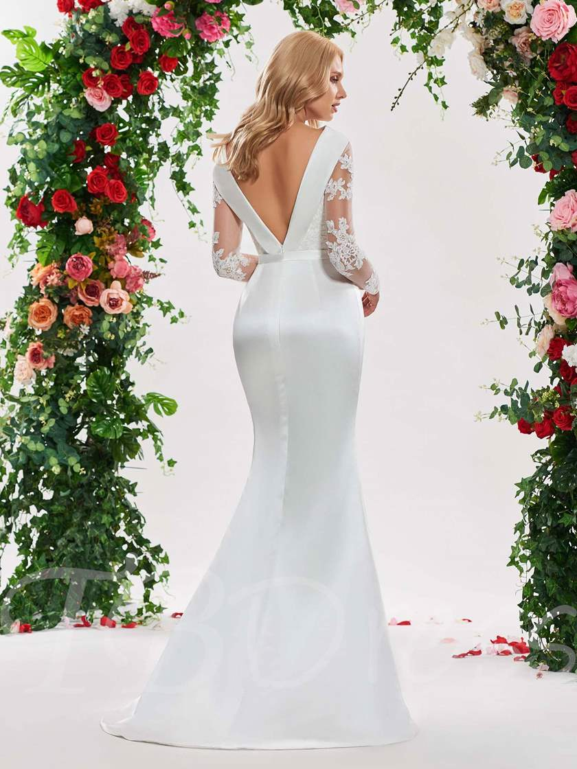 Off the Shoulder Appliuqes Long Sleeve Wedding Dress