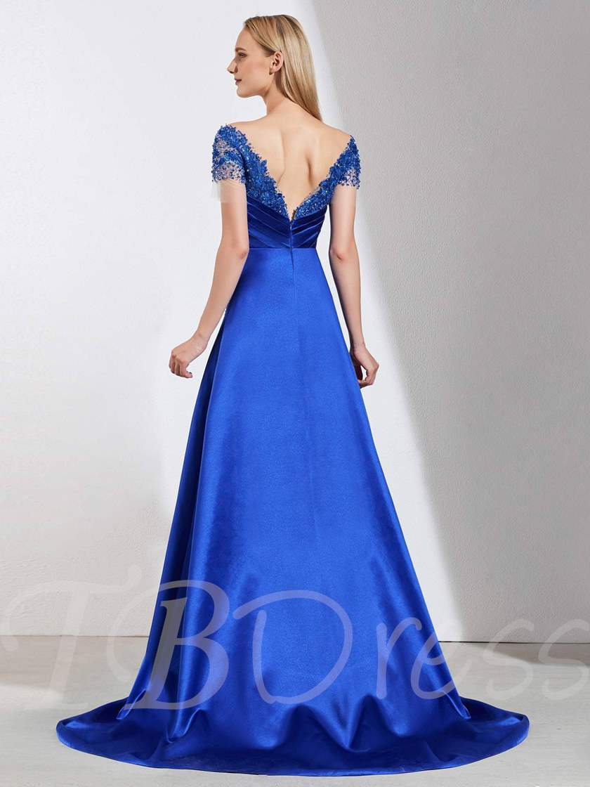 A-Line Appliques Beaded V-Neck Evening Dress 2019