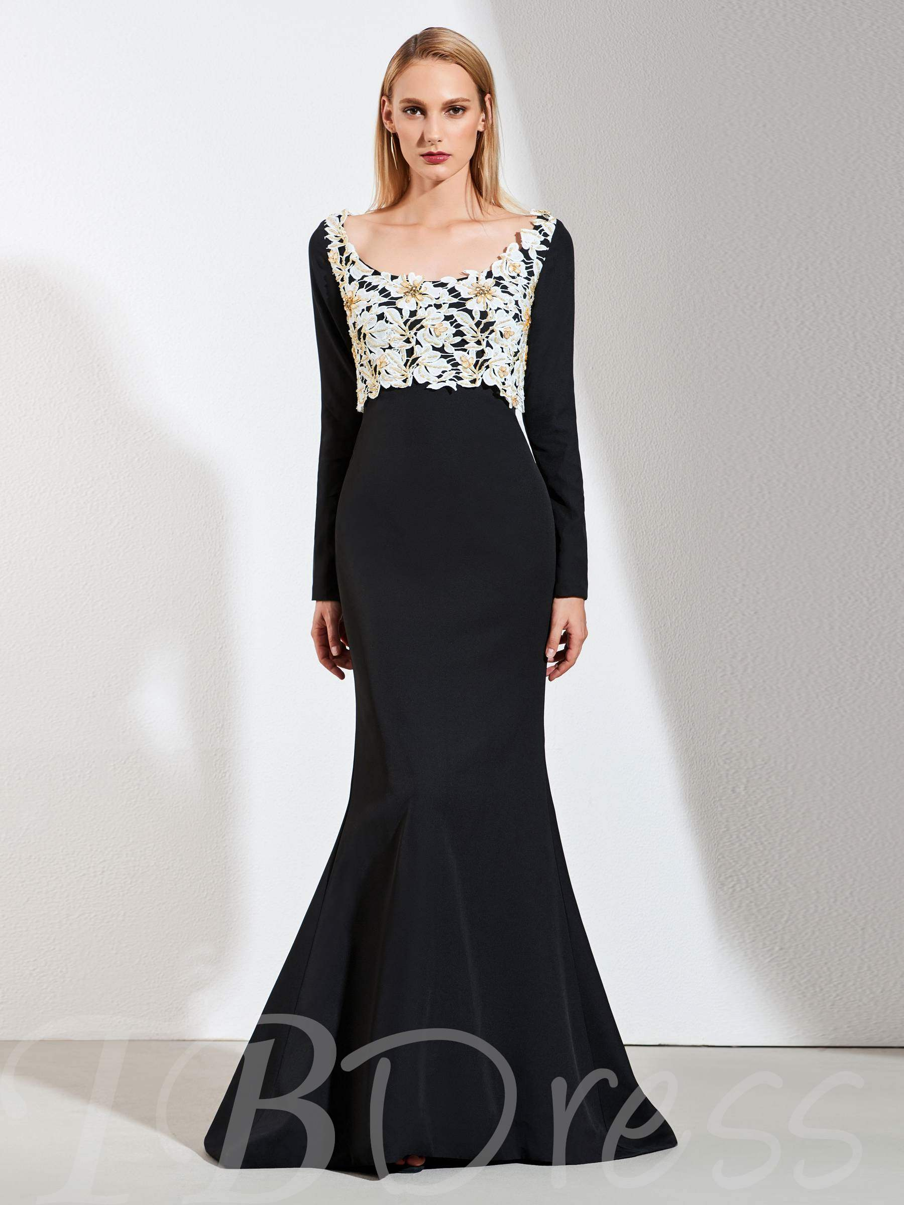 Mermaid Lace Square Beaded Evening Dress, Spring,Summer,Fall,Winter, 13389362