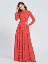 Long Sleeves High Neck Dots Prom Dress 2019