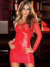 Off-Shoulder Mesh Sexy Patent Leather Tight Short Dress