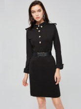 Black Single- Breasted Women's Bodycon Dress